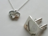 Heart and Heart Cufflink and Pendent Set