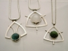 Blue Tourmailine, Moonstone, Green Tourmaline Pendents