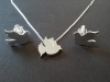 Matching Doves, Cufflink and Pendent Set