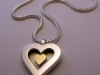 Heart of Gold Pendent, Sterling Silver, 18ct yellow gold