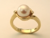 Yellow Gold, Diamond and Pearl Ring